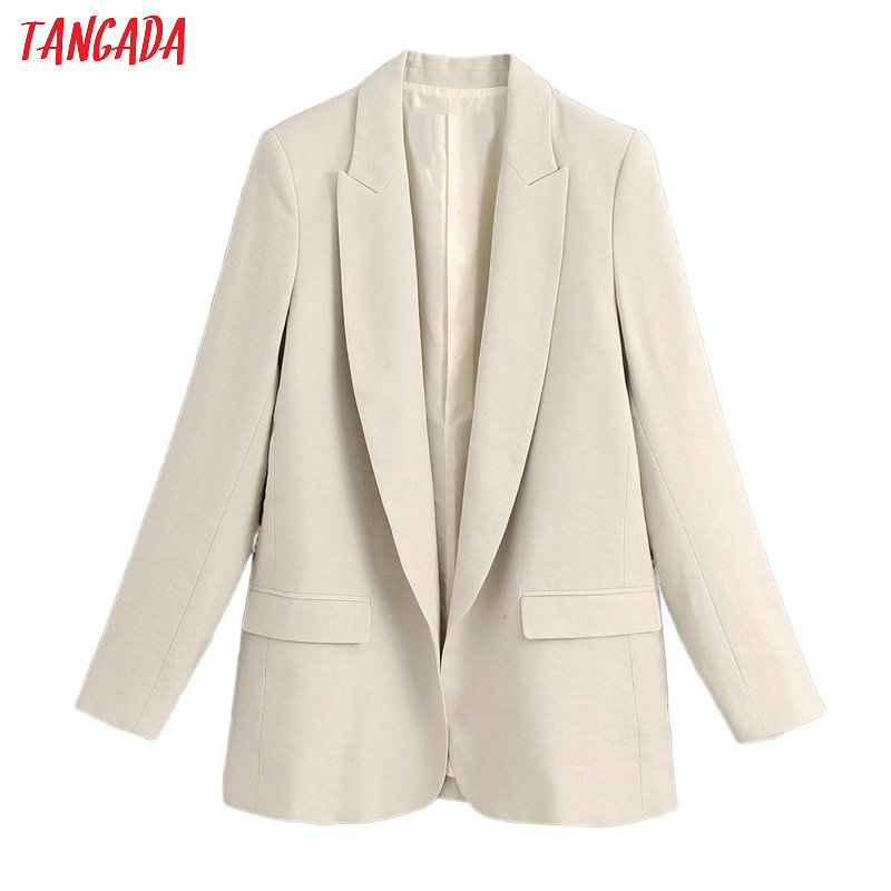 Tangada Women Olid Loose Blazer Female Long Sleeve 2020 New Elegant Jacket Ladies Work Wear Blazer Suits BE566