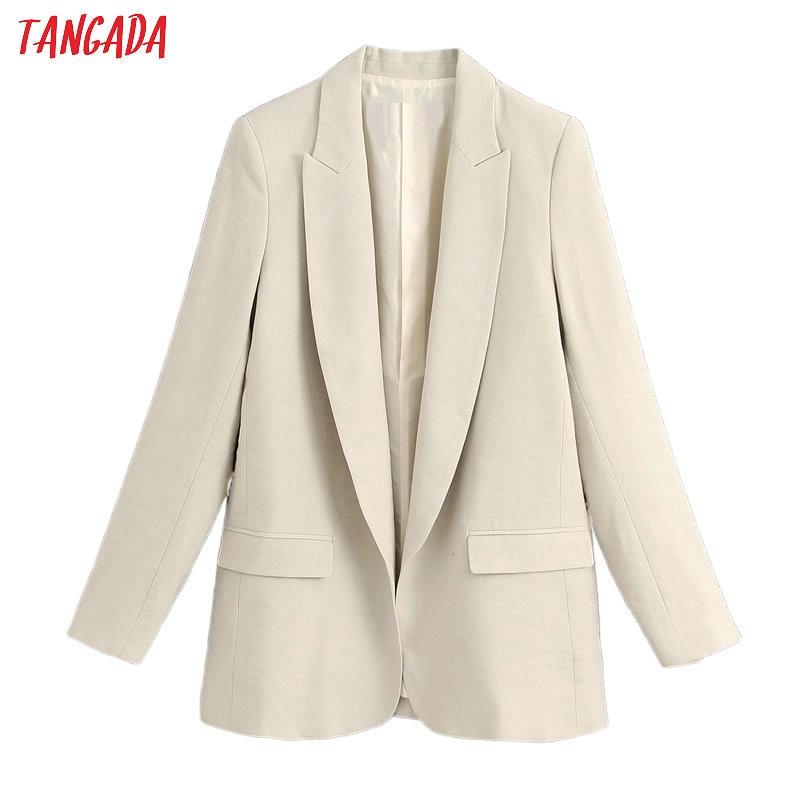 Tangada Women Olid Loose Blazer Female Long Sleeve 2020 New Elegant Jacket Ladies Work Wear Blazer Suits BE566