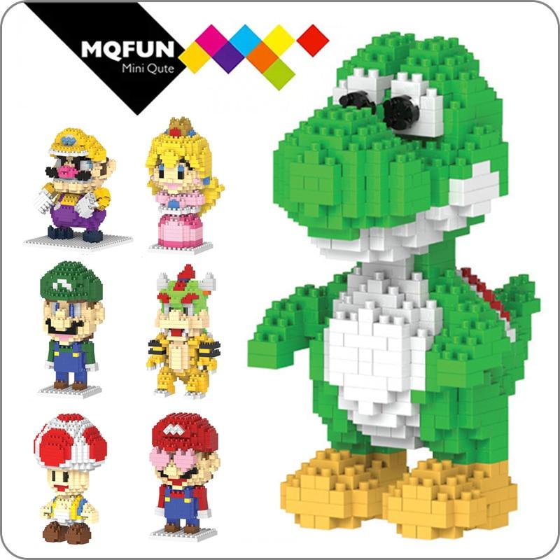 HC Cartoon Super Mario Yoshi Toad Wario Bowser Princess Plastic Building Block Bricks Game DIY 3D Assembly Model Educational Toy