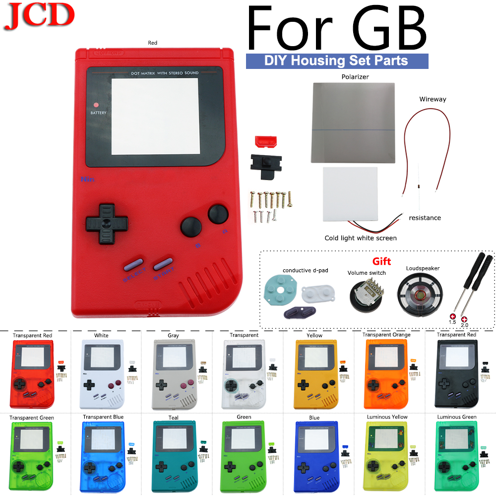 JCD New DMG-001 Full Housing Shell Case for Nintendo LCD Panel To Light Up Screen Behind for Gameboy Classic for GB DMG GBO