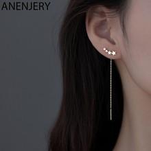 ANENJERY – boucles d'oreilles étoile en argent Sterling 925 pour femmes, nouveau Design exquis, longues chaînes, S-E1443