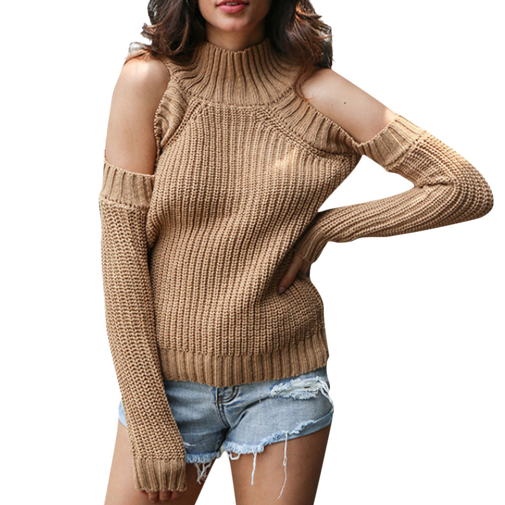 CHAMSGEND 2020 New Fashion Knitted Sweater Women Long Sleeve Cold Shoulder Sweaters Plus Size Soild Turtleneck Sweaters Jy19