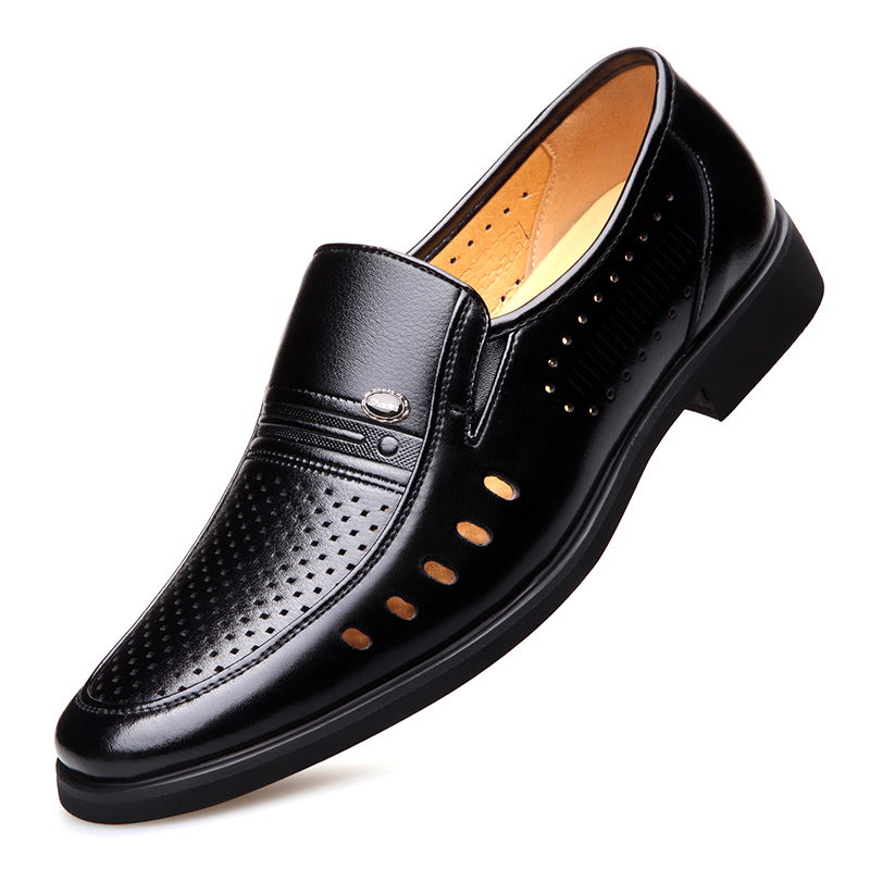 2020 Men Summer Leather Shoes Pointed Toe Quality Black Microfiber Leather Soft Man Breathble Hole Shoes For Man Summer