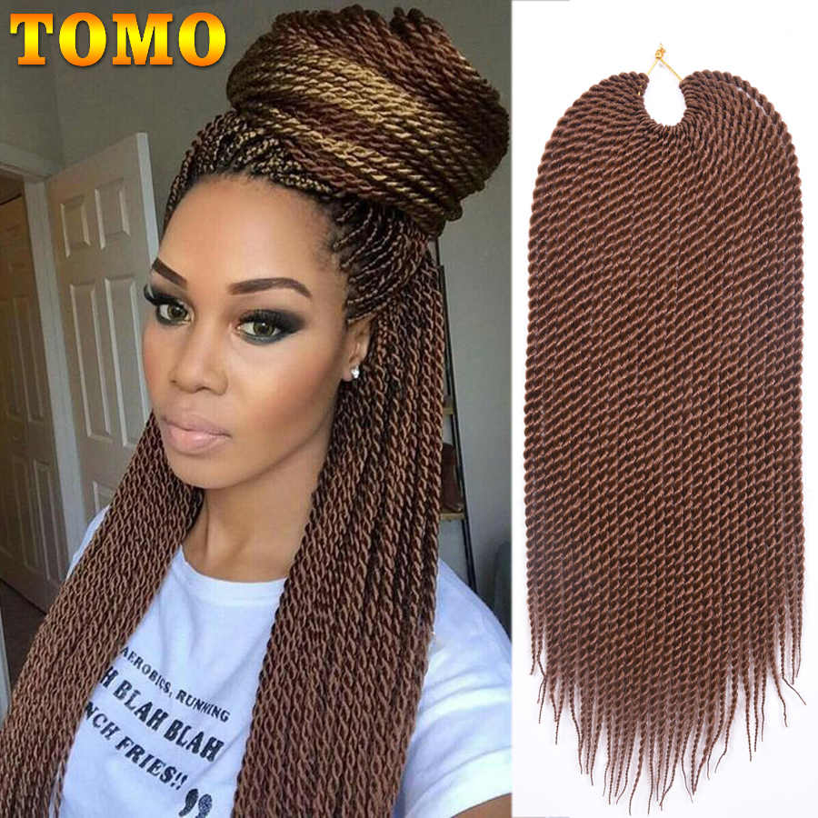 "TOMO Hair 30Strands 14"" 16"" 18"" 20"" 22""  Ombre Synthetic Senegalese Twist Hair 100 Real Small Crochet Braids Hair Extensions"