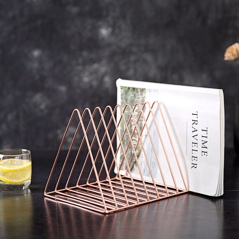 Nordic Wrought Iron Triangle Book Holder Office Organizer Bookshelf Desk Decorative Ornaments Book Stand Bookends     - title=