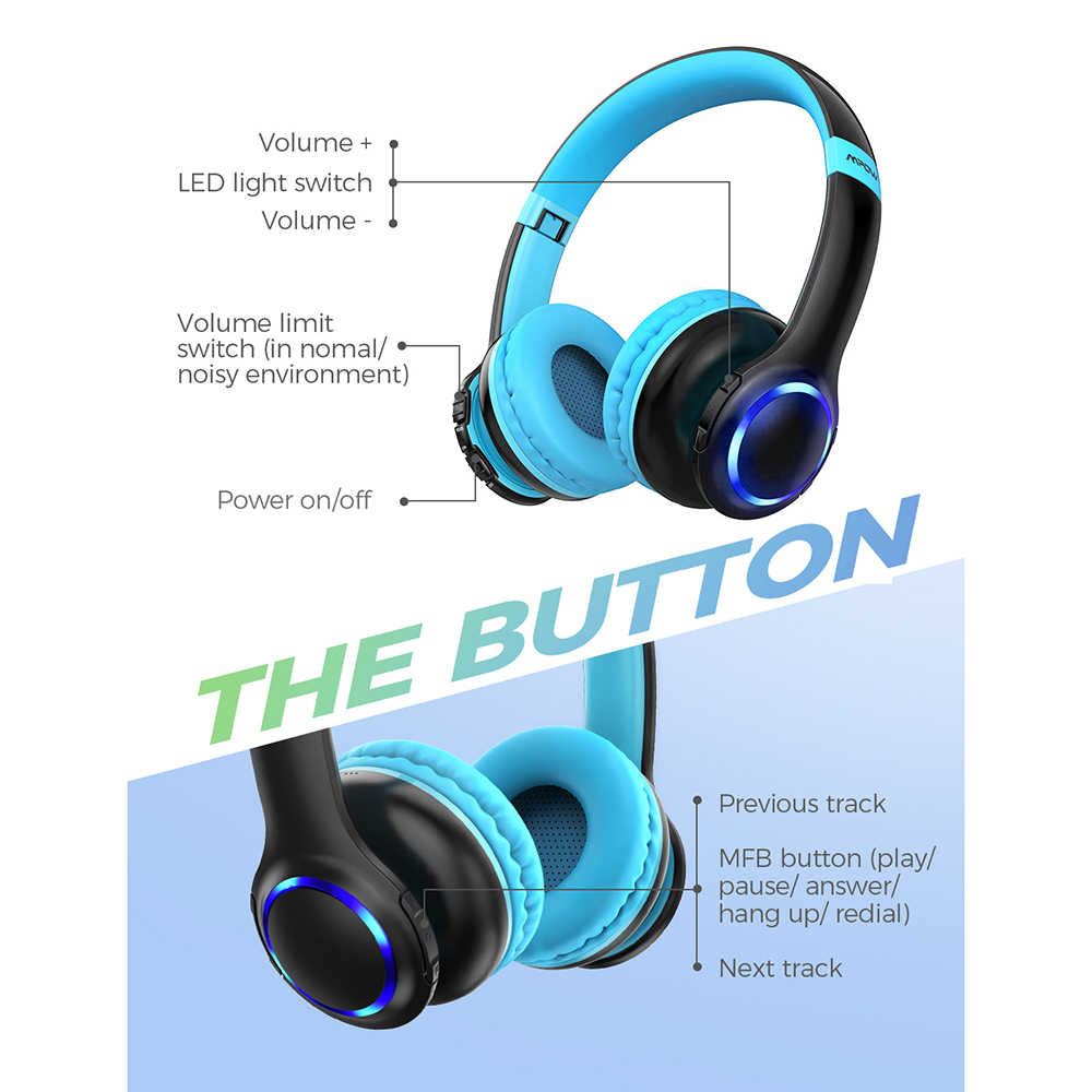 Mpow Ch9 Bluetooth Kids Headphones Foldable Headset With Microphone Led Light 85db Volume Limit For Children Boys Girls Teens Aliexpress