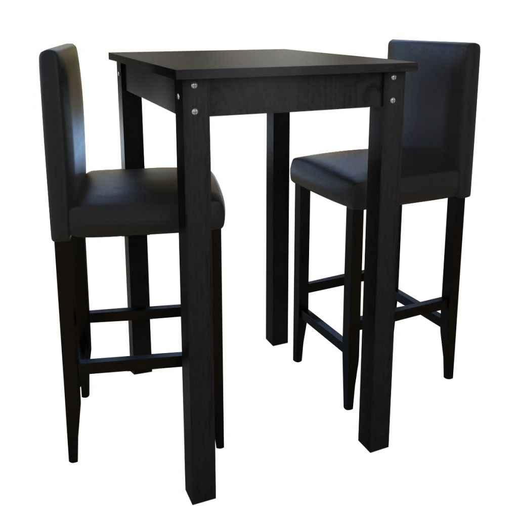 De Lujo 50 cm mesa de Bar con 2 negro antiguo sillas de Bar de piel  caliente a alta juego de sillas para comedor muebles de cocina