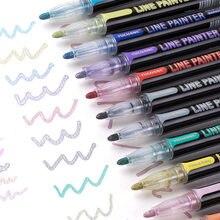 12 pçs linha dupla caneta metálico mágica esboço marcadores caneta conjunto para scrapbooking doodling arte desenho escola artigos de papelaria suprimentos
