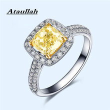 Ataullah Simulation Diamond Citrine Ring Silver 925 Jewelry Yellow Color Gemstone Rings for Woman Fine Party RW093