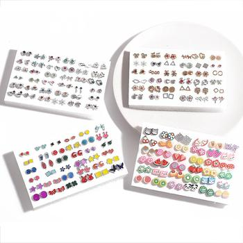 36Pairs Earrings Mixed Styles Crystal Rhinestone Sun Flower Geometric Animal Plastic Stud Earrings Set For Women Girls Jewelry
