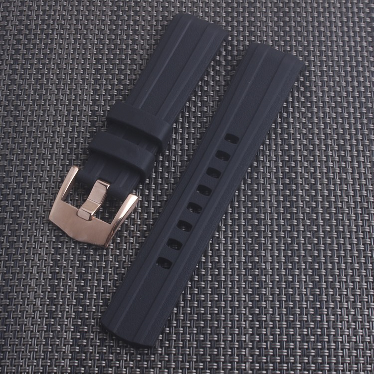 Black Blue 20mm Watchband Curved End Silicone Rubber Watch band with pin buckle for Omega strap Seamaster 300