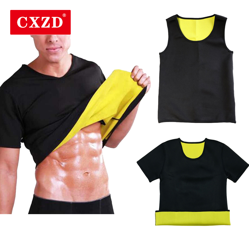 CXZD Men Sweat Neoprene Body Shaper Weight Loss Sauna Shapewear Workout Shirt Vest Fitness Jacket Suit Gym Top Clothes Thermal