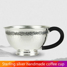 цена на Silver Cup 999 Silver Fashion Coffee Cup Handmade Hammer Tea Cup Household Silver Water Cup