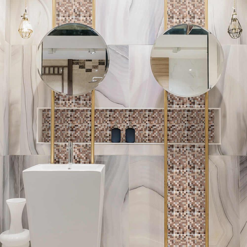 funlife impermeable mosaique carrelage colle salle de bain cuivre metal autocollant mural papier peint dessin argent