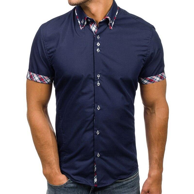 Adisputent New Men's Shirts 2020 Fashion Male Dress Shirts Slim Fit Turn-Down Men Short Sleeve Mens Hawaiian Shirt Plus Size 3XL