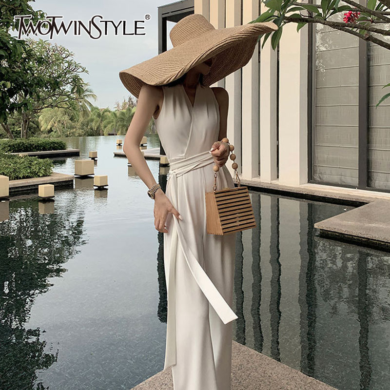 TWOTWINSTYLE Off Shoulder Jumpsuit For Women Sleeveless V Neck High Waist Lace Up Wide Leg Pants Jumpsuits Female 2020 New