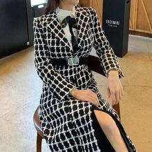 Женское шерстяное пальто элегантное приталенное в клетку средней