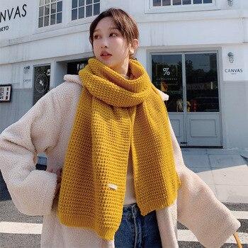 цена на Solid Color Wool Kintting Scarf Lady Winter Thicken Keep Warm Soft Woolen Yarn Shawls Female Long Neck Warps Multicolor Muffler