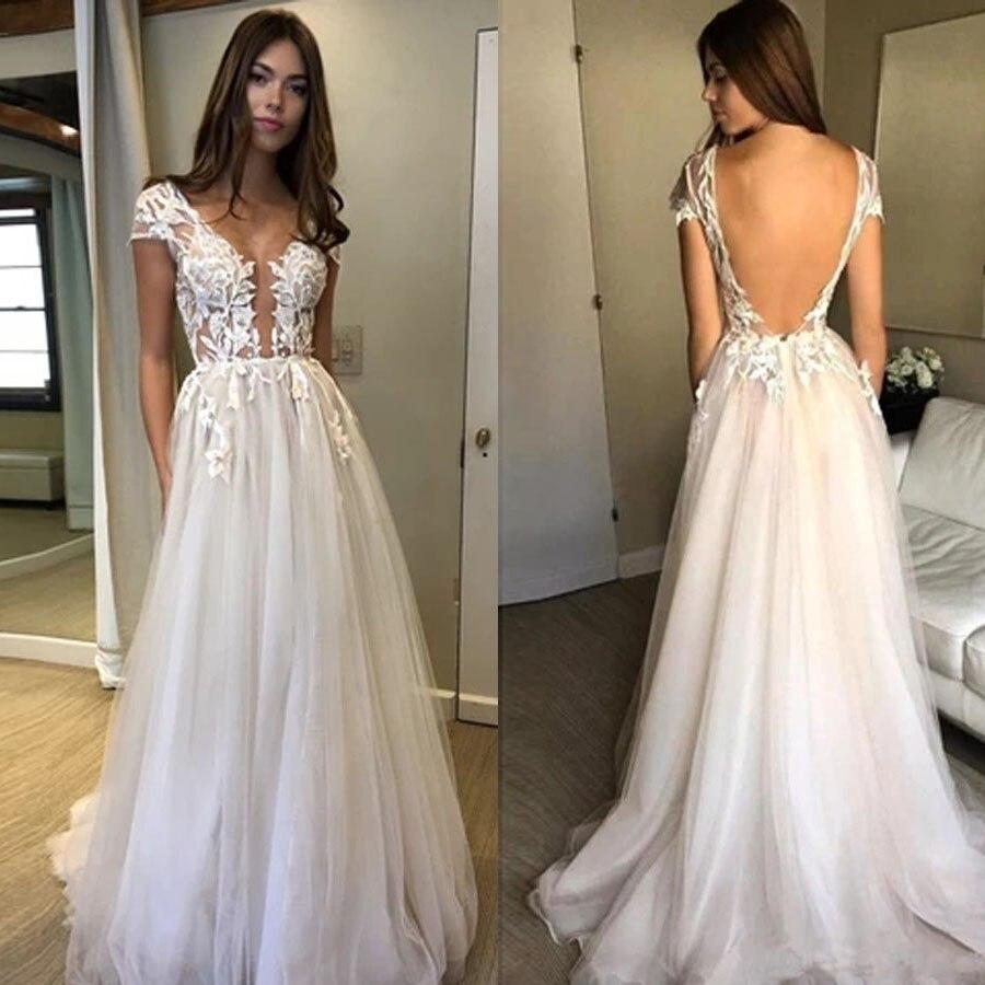 Modest Scoop Neckline Cap Sleeve Lace Applique Split Illusion Tulle A-line Wedding Dress Backless Sweep Train Bridal Dress