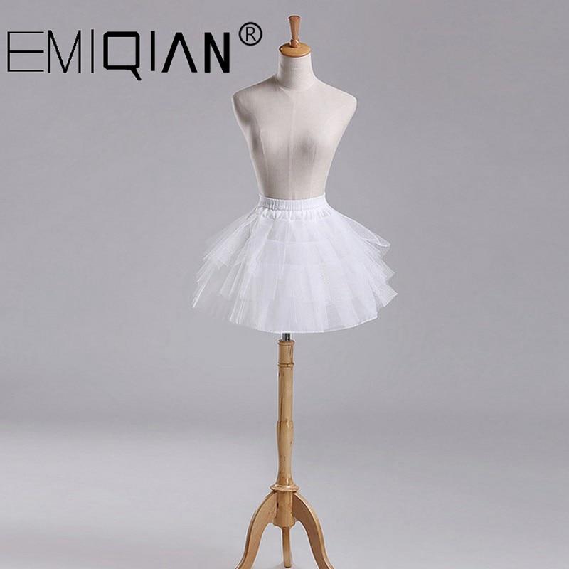 Little Girls Petticoats 3 Layers Hoopless Short Flower Girl Formal Dress Crinoline For Wedding Kid Underskirt