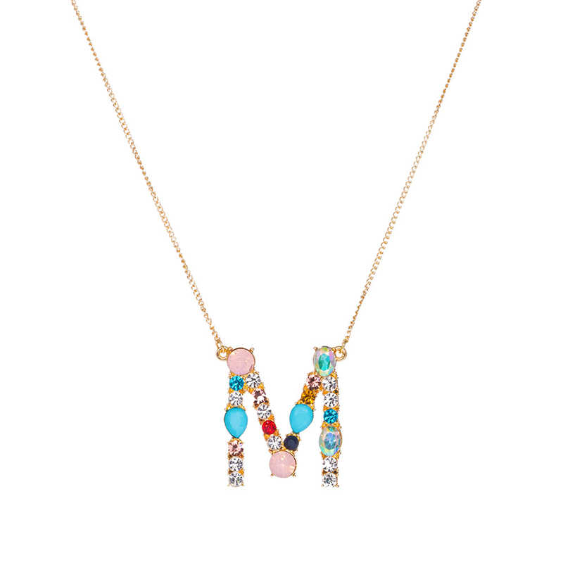Fashion charm Multicolor Initial 26 Alphabet Gold/Silver pendant necklace micro pave zircon initial letter necklaces Couple Name