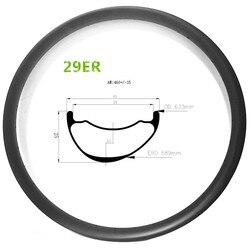 Roue de frein à disque en carbone asymétrique 29er VTT 45mm largeur 25mm profondeur roue tubeless brillant/mat vtt 29 pouces jante en carbone