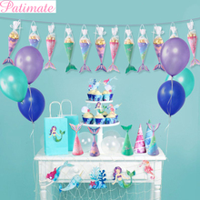 PATIMATE Little Mermaid Party Supplies Theme Decoration Birthday Baby Shower Girl Favor