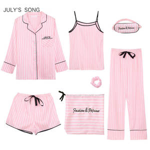 Pyjama Women Sleepwear-Sets Homewear Emulation-Silk JULY'S SONG Pink Striped Autumn 7pieces