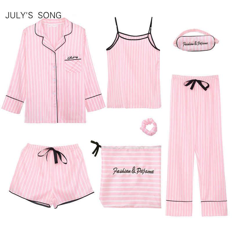 JULY'S SONG różowe damskie 7 sztuk piżamy ustawia imitacja jedwabiu paski piżamy kobiety piżamy zestawy wiosna lato jesień Homewear