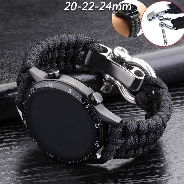 20 22mm Strap for Samsung Galaxy Watch 3 41mm 45mm Watch Band 42mm 46mm for Huawei Watch GT 2e Adjustable Buckle Rope Bracelet 1