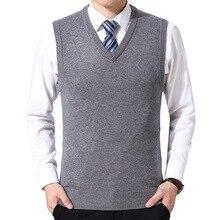 Oeak, мужской вязаный свитер, однотонный кашемировый свитер, пуловер без рукавов, мужской тонкий вязаный жилет с v-образным вырезом, Hombre