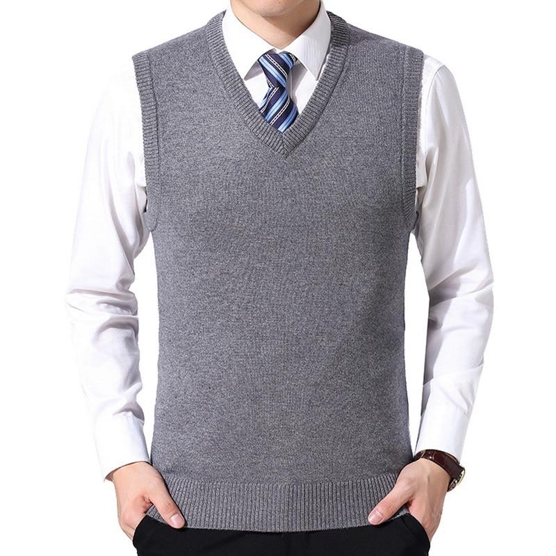 Oeak 2019 Men Knitting Sweater Vest Solid Color Cashmere Sweaters Sleeveless Pullover Men V-Neck Slim Knitted Waistcoat Hombre