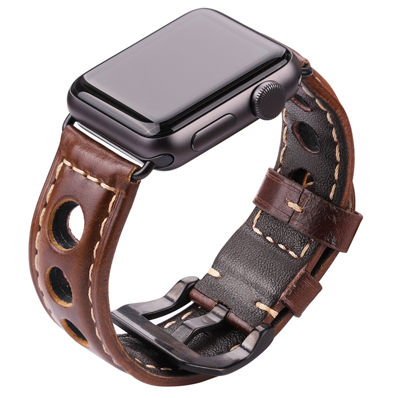 Cowhide-Watchbands Strap-Belt Apple Watch Dark-Brown Genuine-Leather Women Fashion