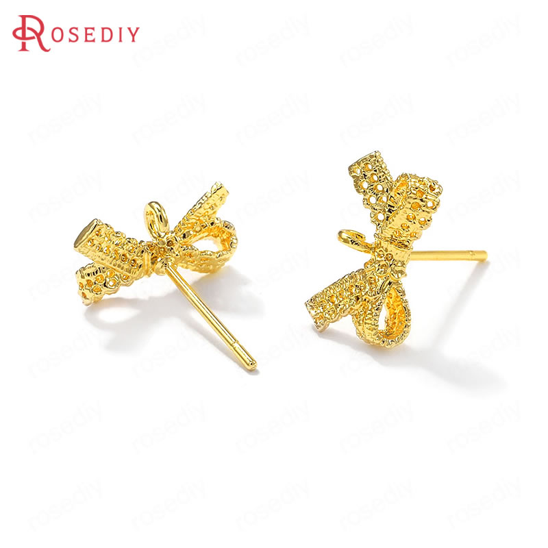 (38143)6PCS 14x8MM 24K Gold Color Brass With 925 Sterling Silver Pins Bow Shape Stud Earrings Jewelry Making Supplies