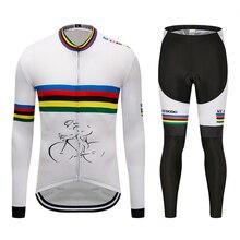 цена на Ropa ciclismo Brand 2019 Spring Autumn Long Cycling Clothes Men's Jersey Suit Outdoor Riding Bike MTB Clothing Bib Pants Set