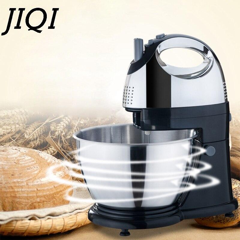 JIQI 4L acier inoxydable bol électrique support alimentaire mélangeur oeuf batteur crème mélangeur poche fouet gâteau pâte à pain pétrissage Machine