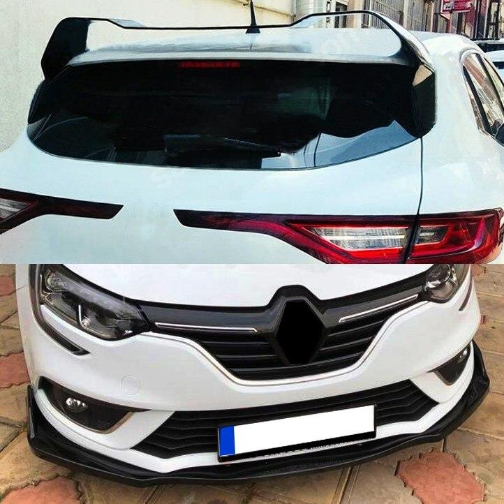 Para renault megane 4 spoiler hatchback rs spoiler sem pintura + amortecedor dianteiro acessório 2016 +