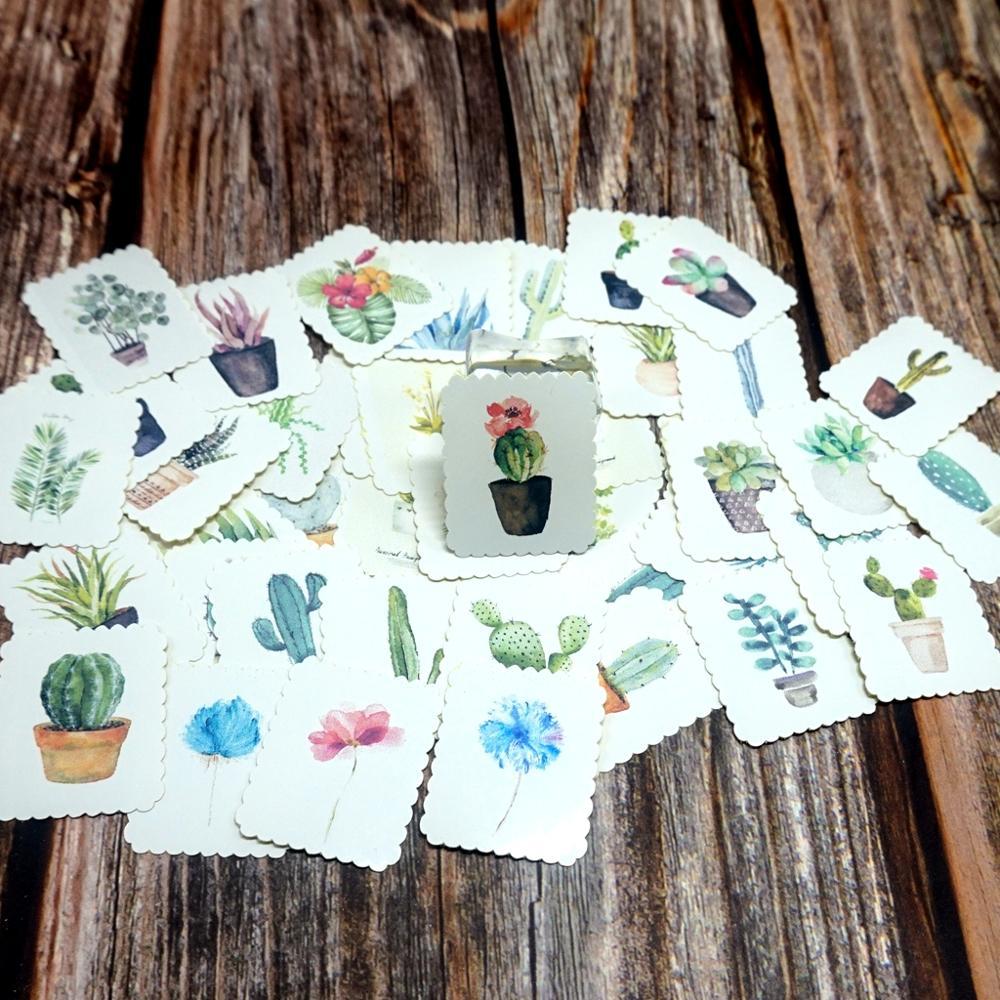 42PCS Green Plants Stickers DIY Journal Decorative Stationery Diary Sticker Student Boys Girls Kids Children Gift Paper Stickers