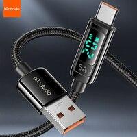 USB 케이블 Mcdodo 5A QC 3.0 LED 디스플레이 Type C 전화 충전기 Huawei P40 Samsung Xiaomi 11 용 USB A to Type-C 고속 충전 코드