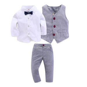 Image 1 - Kid Boy Clothes Gentleman Grey Vest + Long Sleeved White Shirt + Pants Kids Four Piece Suits Suit For Children Outfit