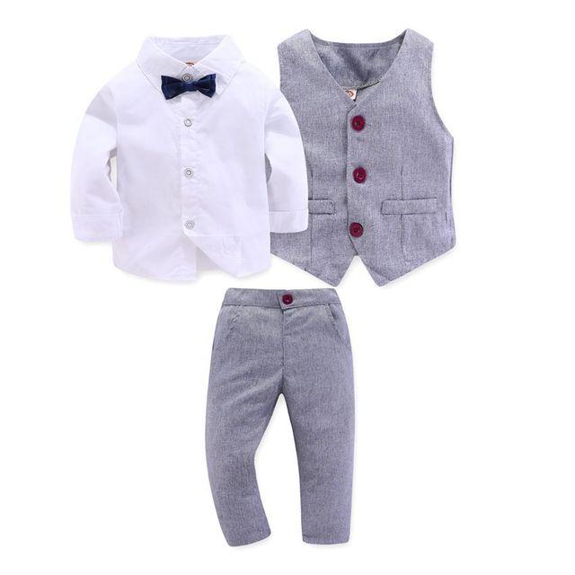 Kid Boy Clothes Gentleman Grey Vest + Long Sleeved White Shirt + Pants Kids Four Piece Suits Suit For Children Outfit