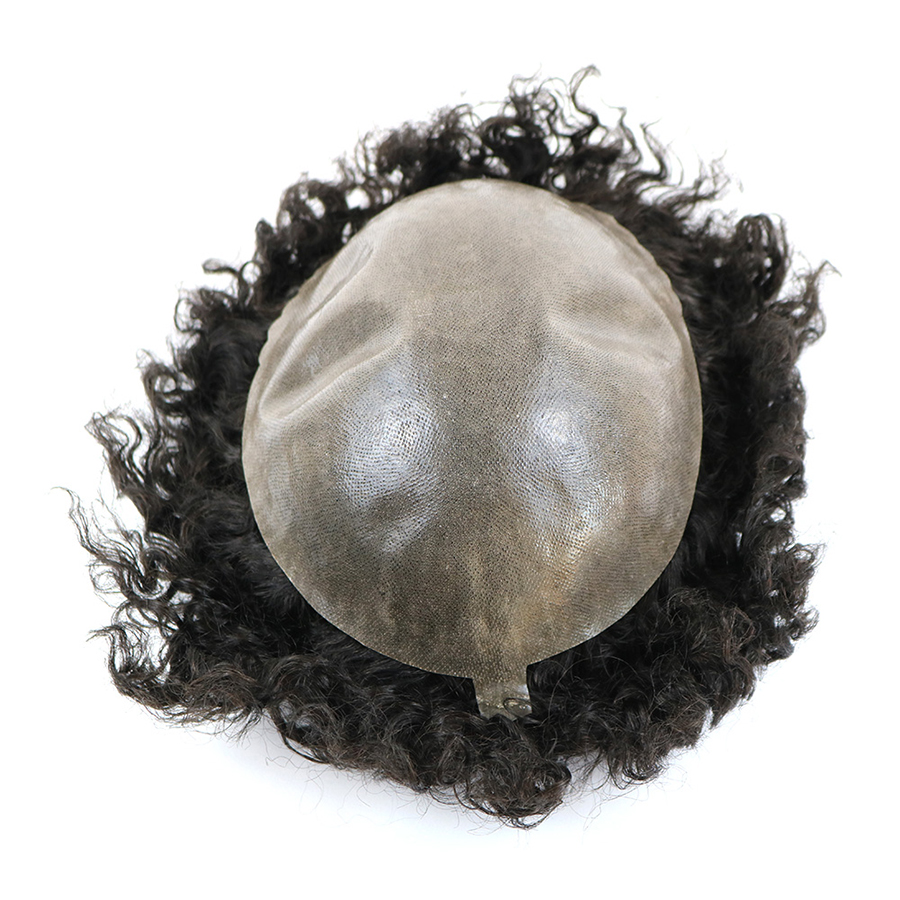Image 5 - Durable Skin Base 20mm Deep Curl Men Human Hair System Replacement Toupee Hairpiece Installation Wig Prosthesis for Hair LossToupees   -