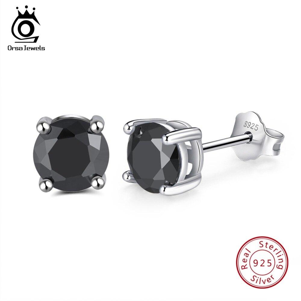 ORSA JEWELS 925 Sterling Silver Women Stud Earrings Prong Setting AAA Black Cubic Zircon Simple Earring Fashion Jewelry SE84-B