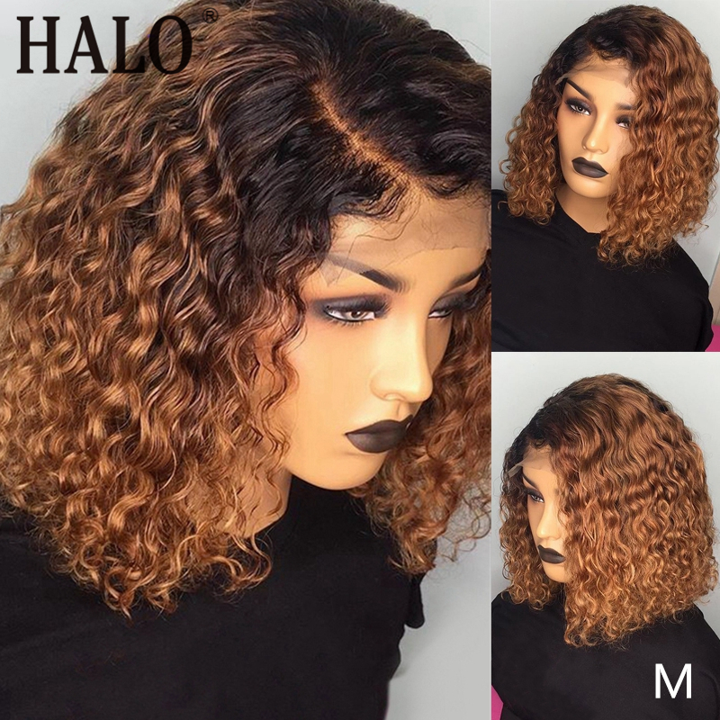 1B/27 Ombre Color Short Curly Lace Front Human Hair Wigs With Baby Hair Pre Plucked Brazilian 13x6 Lace Bob Wig 150 Density Remy