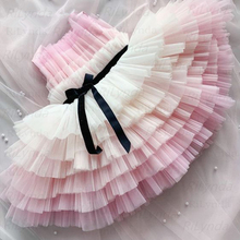 Ball-Gown Dress Flower-Girl Tulle Pink Little Kids Cute Bow Bow-Sashes Bride Layered
