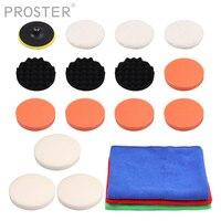 Proster 18 pcs para Polimento Roda de Polimento Velcro Esponja Conjunto com M14 Turntable 150 milímetros de Polimento roda de polimento esponja conjunto