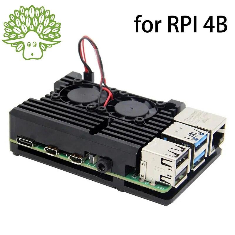 Raspberry Pi 4 4B-funda de Metal con ventilador de refrigeración, doble protección de aluminio para RPI 4 / 4B