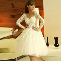 Fashion Long Sleeves White Homecoming Dresses Appliques A Line Cocktail Dresses Prom Party Gown Graduation Vestidos De Fiesta