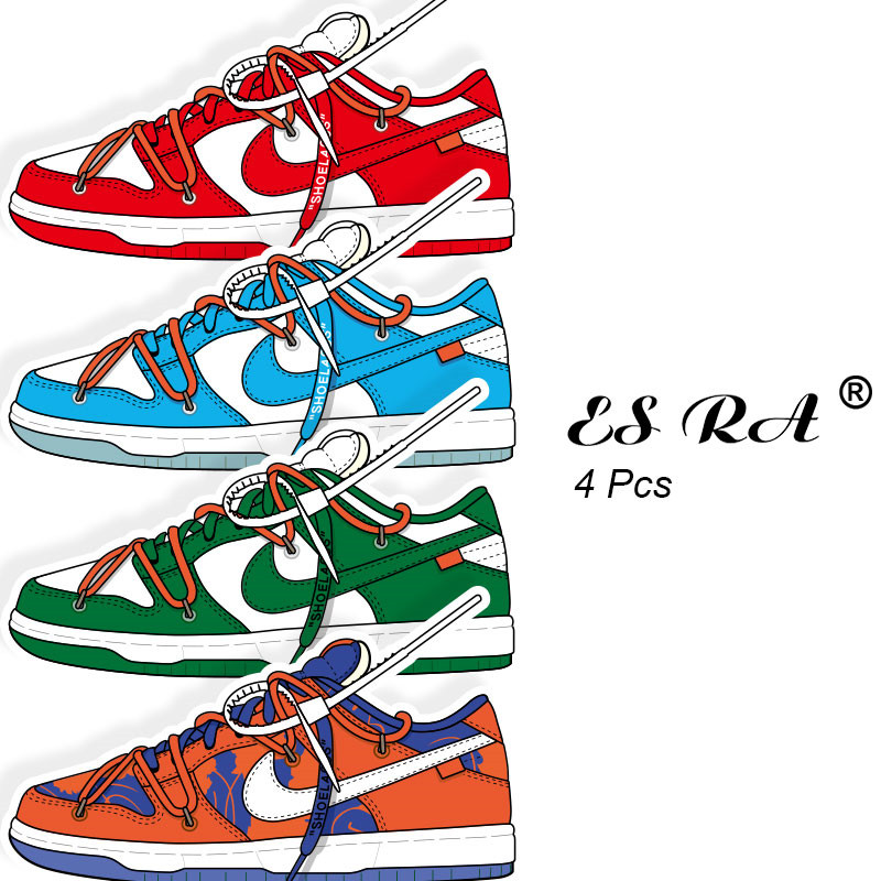 4Pcs/Set Waterproof Decal Boost OW Sneakers Stickers Sport Shoes PVC Pegatinas For  Computer Skateboard Guitar Decorate