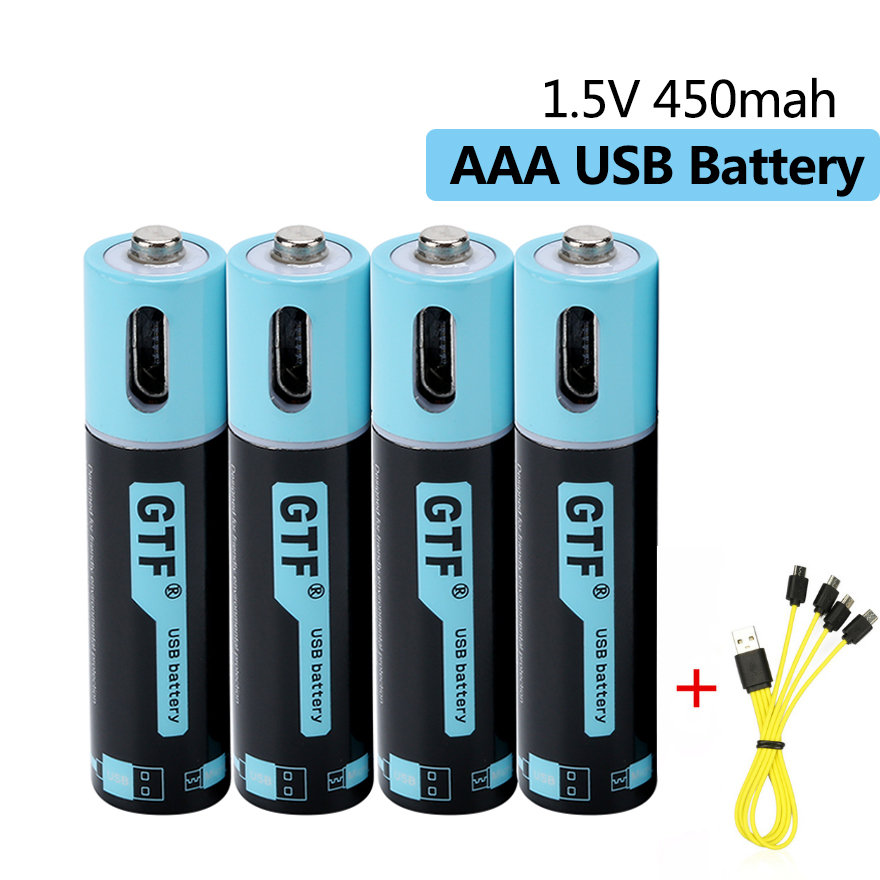 Original AAA 1.5V 450mah USB Battery Rechargeable Lithium Polymer Battery USB AAA 3A Battery Quick Charging with Micro USB Cable image
